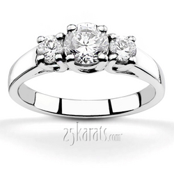 Trellis setting three stone diamond engagement ring