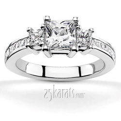 Princes basket setting three stone with princess cut side diamonds