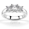 Princess sut basket setting three stone engagement ring