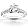 Trellis six prong pave diamond engagement ring