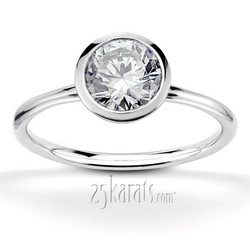 Bezel set elegant solitaire engagement ring