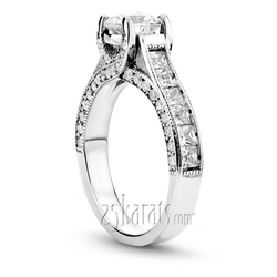 Comtemporary round and princes cut diamond engagement ring