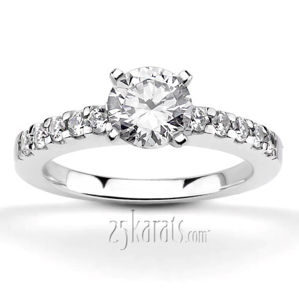 diamond classic ring prong white engagement gold w