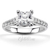 Princes cut center trellis micro pave set diamond engagement ring