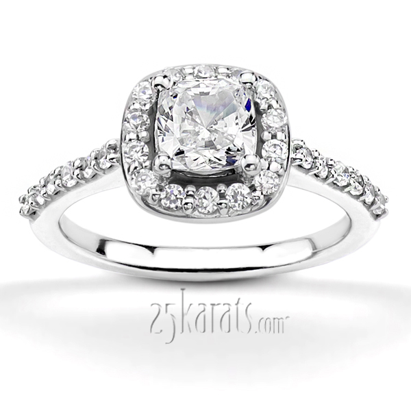 Halo Bead Set Engagement Ring Cushion Center 049 Ct Tw