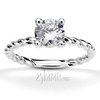 Twist wire shank 4 prong basket solitaire engagement ring