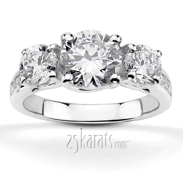 wedding real moissanite carat rings ring luxury engagement three solid stone