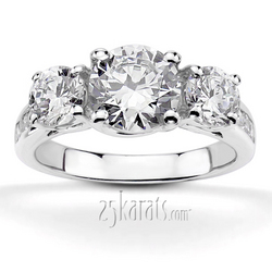 Trellis three stone diamond accent engagement ring