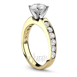 Yellow gold channel diamond engagement ring