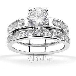 Classic channel diamond engagement bridal set