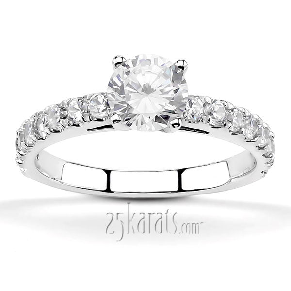 Micro Pave Set Low Cathedral Diamond Engagement Ring (1/4