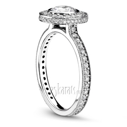 Halo bezel set center engagement ring