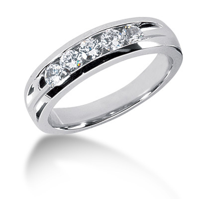 Channel Set Classic Mens Wedding Ring075ct Tw