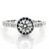 Sapphire accent pave set with diamonds halo engagement ring