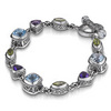 Multi color gem stone couture silver bracelet