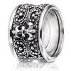 Fligree design couture right hand silver ring