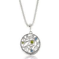 Sterling silver blue topaz peridot necklace