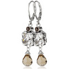 Sterling silver white topaz smokey quartz earrings