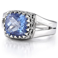 Sterling silver iolite topaz ring
