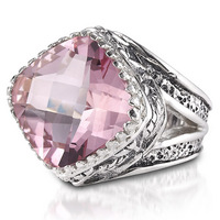 Sterling silver morganite topaz designer ring