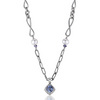 Iolite topaz and freshwater pearl necklace pendant