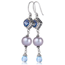 Iolite blue topaz freshwater pearl earrings