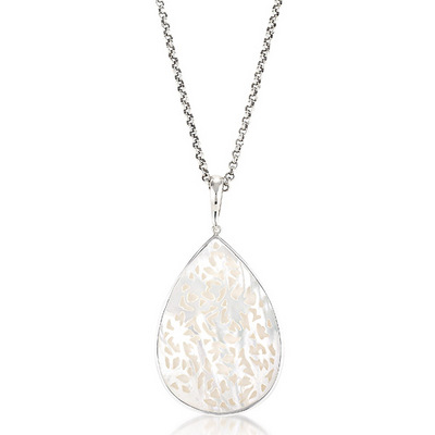 Sara blaine jewelry collection designer silver jewelry 7627mop7083ch sterling silver white mother of pearl necklace pendant 7627mop 7083ch 7627mop 7083ch mozeypictures Image collections