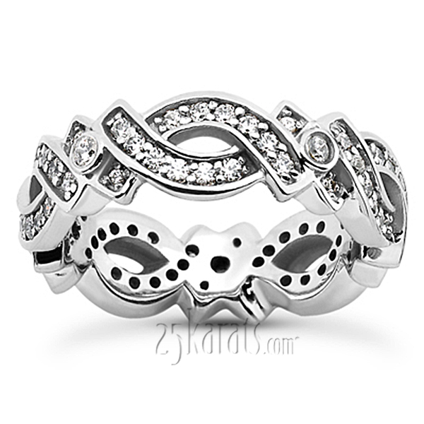 Elegant Bead Set Eternity Wedding Band 066 Ct Tw