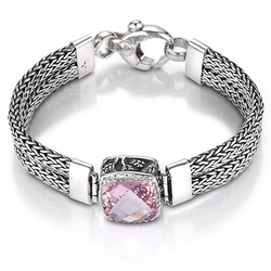 Sterling silver and morganite topaz bracelet