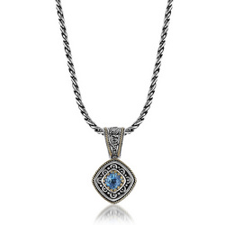 Silver 18k gold blue topaz necklace pendant