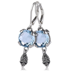 10mm blue topaz lever back fashion earrings