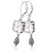 White topaz lever back fashion sterling silver earrings