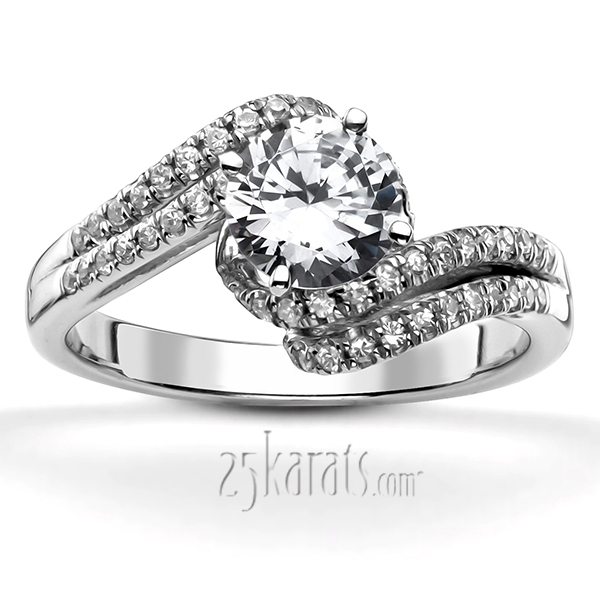 micro pave set split shank bypass engagement ring