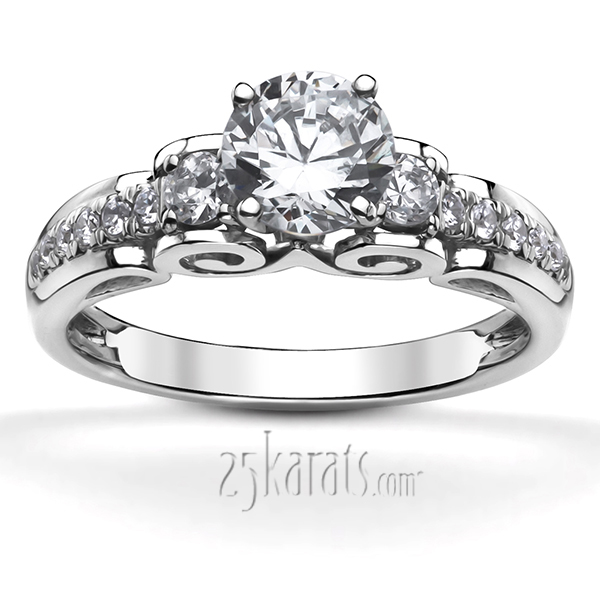 ENR8694. Previous. Platinum micro pave scroll engagement ring ...