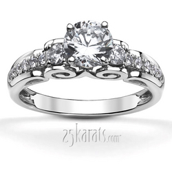 Filigree scroll diamond engagement ring