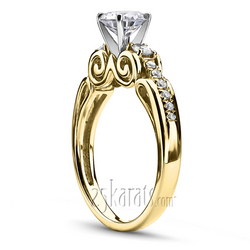 Yellow gold miro pave diamond proposal ring