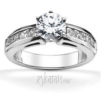 Classic channel set princess engagement ring