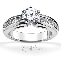 Classic channel set princess cut side stones engagement ring