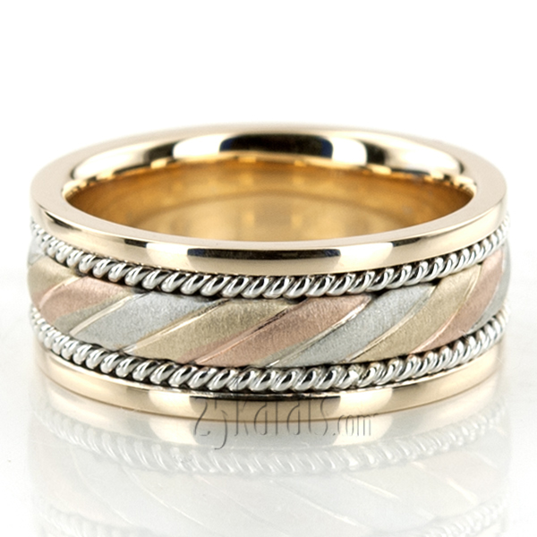 Exclusive Three Color Hand Woven Wedding Band