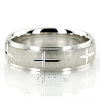 Exquisite Cross Carved Design Wedding Ring