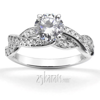 Infinity pave set diamond engagement ring