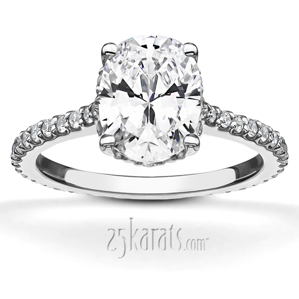 Pave Set Oval Diamond Engagement Ring 1 3 Ct T W
