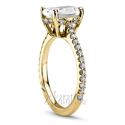Yellow gold micro pave engagement ring with oval center