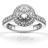 Fancy pave set diamond halo engagement ring