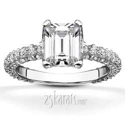 Micro pave emerald cut center engagement ring