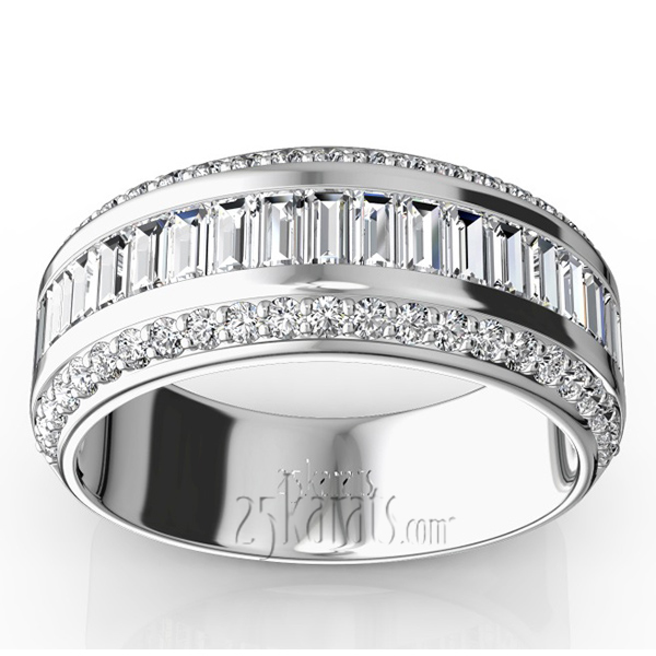 Platinum Baguette Wedding Band