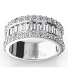Prong set round and channel set baguette ladies wedding band