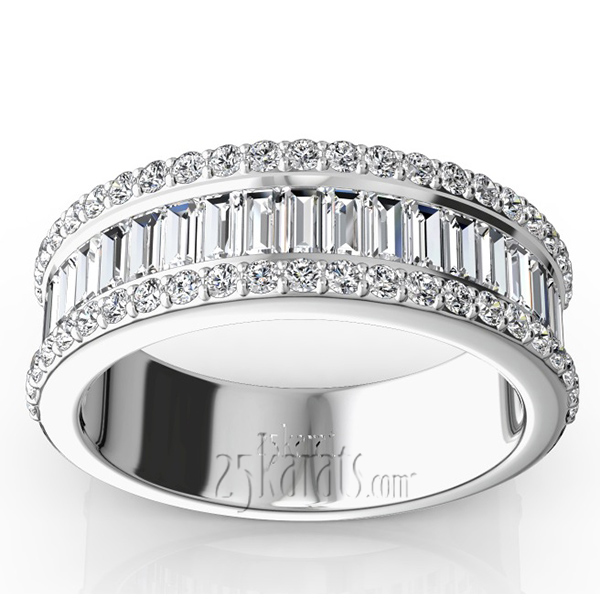 Baguette and Brilliant Round Diamond Wedding Anniversary Band ...