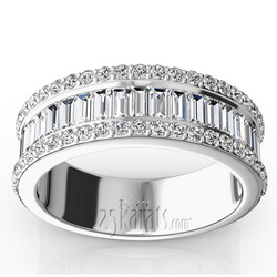Wb9276 Platinum And Gold Round Baguette Anniversary Band