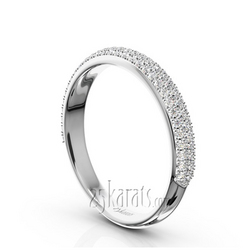 Micro pave set 3 row diamond wedding anniversary band